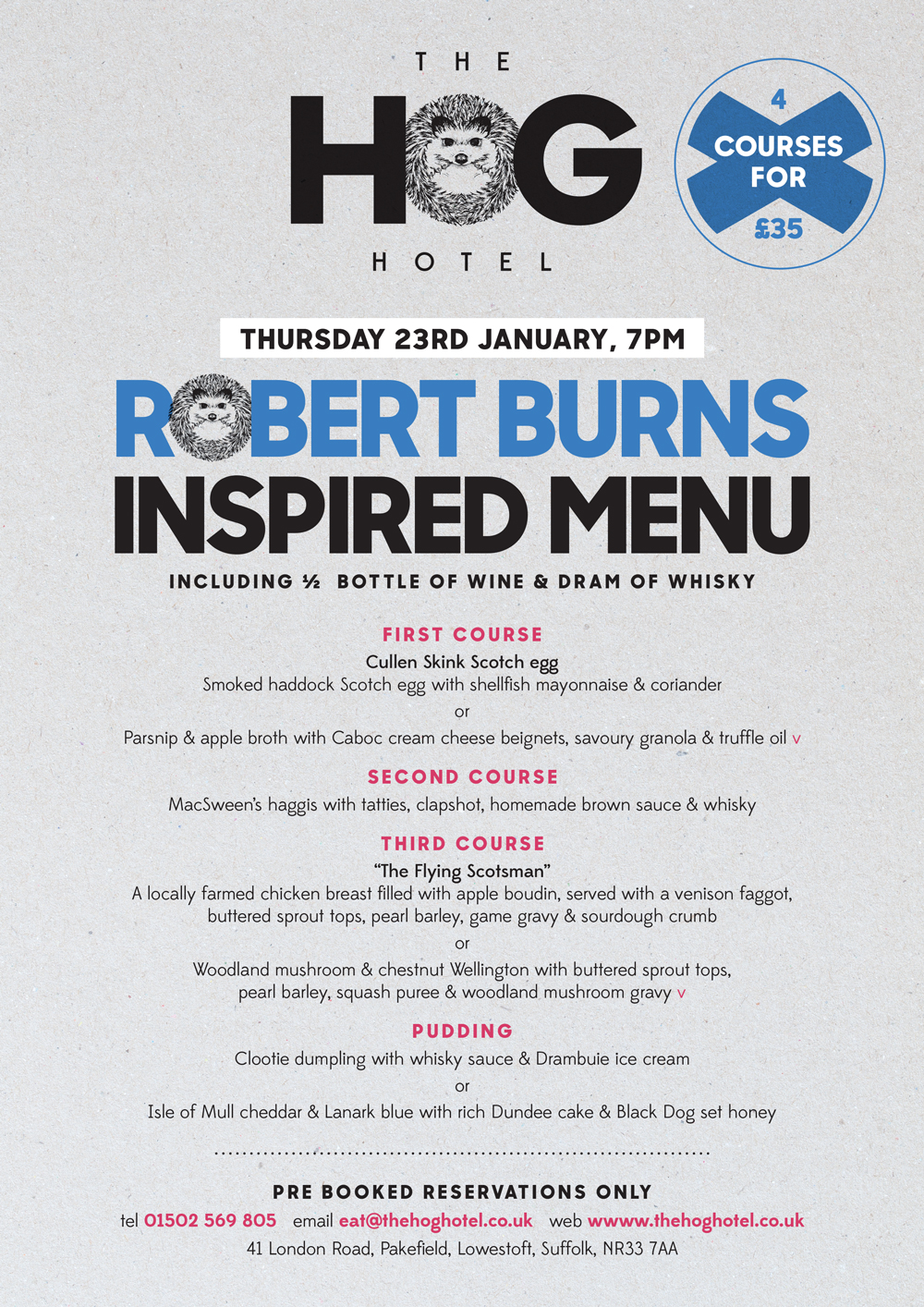 Robert Burns Inspired Supper 23rd Jan 2020